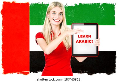 young woman with flag of United Arab Emirates on the background holding tablet pc. arabic language learning concept. sample text Learn arabic! Collage. Clip-Art