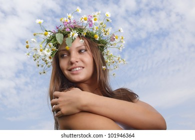 young woman with flower diadem