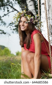young woman with flower diadem.