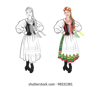 Young woman in a folk costume