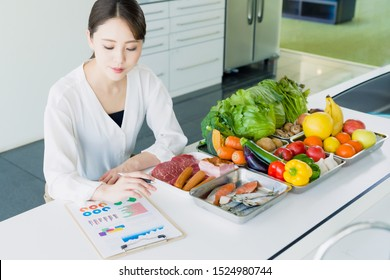 Young woman and foodstuff. Food coordinator. Nutritionist.
