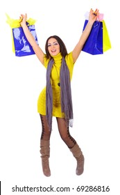 Young woman full of shopping bags, isolated on white