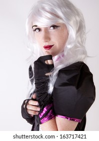 Young Woman in Futuristic Costume and White Wig