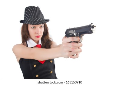 Young woman gangster with gun on white