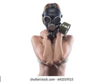 Young woman in gas mask covered breast