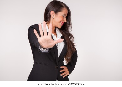Young woman in gesture of, Back away