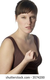 a young woman gets angry and shake one's fist