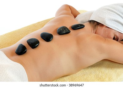 Young woman gets a lastone therapy