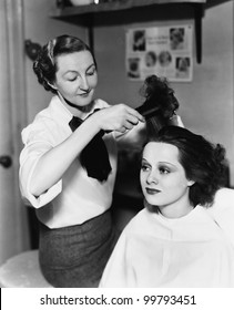 Young woman getting her done in a hair salon