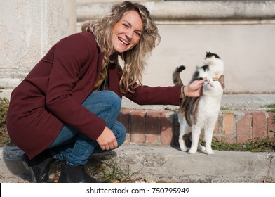 young woman girl with cats