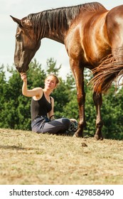 Young woman girl feeding and taking care of brown horse. Female with animal outdoor.