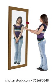 Young woman giving a flower to her reflection in a mirror
