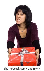 young woman giving or receiving a red present