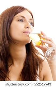 Young woman with glass of champagne, isolated on white background
