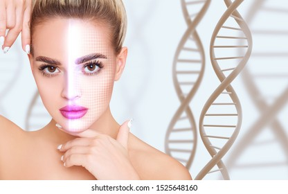 Young woman with glowing grid on face among DNA stems. Concept of security.