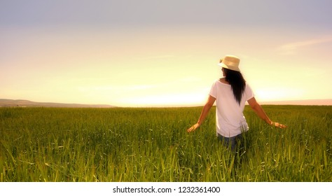 Young Woman and Gluten Free Wheat Field