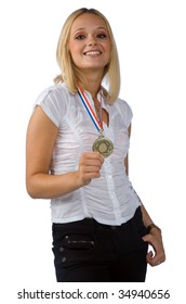 young woman with gold medal