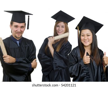 Young woman with graduation cap and gown