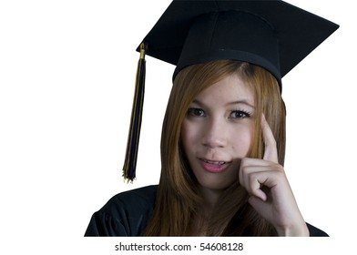 Young woman with graduation cap and gown and thinking