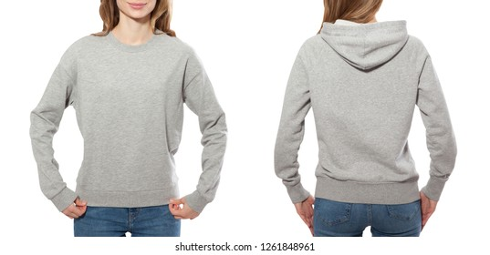 young woman in gray sweatshirt front and rear, gray hoodies, blank isolated on white background. mock up