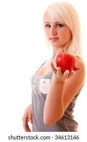 Young woman with green apple. Isolated over white