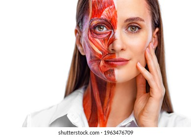 Young woman with half of face with muscles structure under skin. Model for medical training on a light background. Close up portrait of face human anantomy.