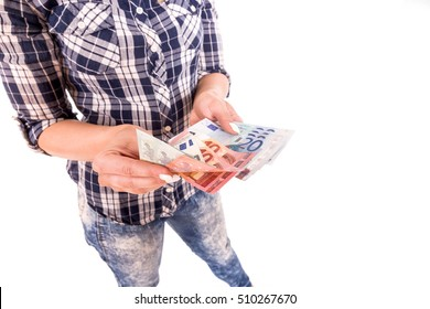 Young woman hand counting money isolated on white background