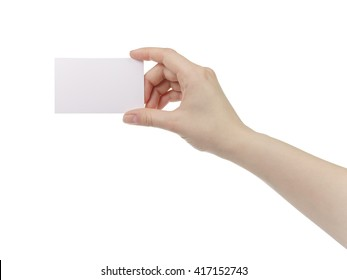 young woman hand hold and showing empty paper card, isolated on white background