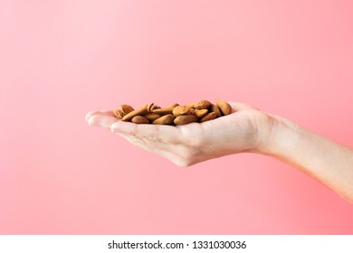 Young woman hand holding almonds on isolated pink background.