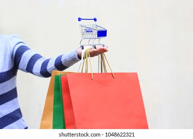 young woman hand holding blue model miniature shopping cart and colorful shopping bags on white background