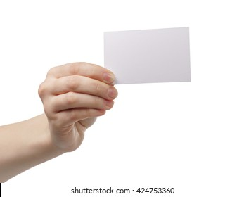 young woman hand showing empty paper card to camera, isolated on white background
