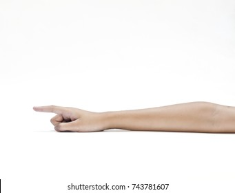 Young woman hand white background