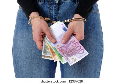 Young woman with handcuffs and Euro money