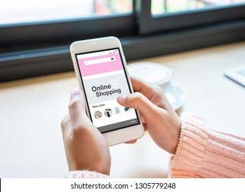 Young woman hands using smartphone. Online shopping concept.