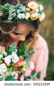 Young Woman With Handsome Flower Wreath