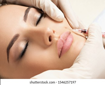 Young woman has a botox injections. Beauty treatment with hyaluronic collagen  injection. Cosmetology and skincare. Woman in beauty salon getting botox injections to the cheek. Plastic surgery clinic
