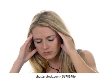 young woman has headaches
