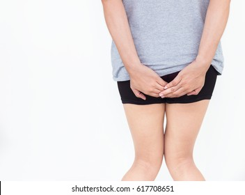 Young woman has pain in the butt, Hemorrhoids, Anal disorders.