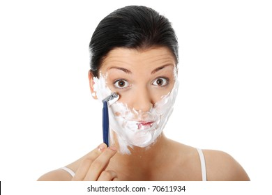Young woman have morning shave, isolated on white
