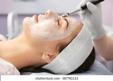 Young woman having beauty treatments in salon
