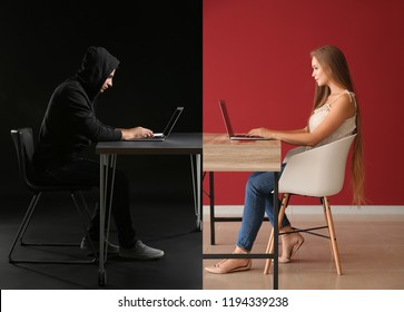 Young woman having online date with fake boyfriend. Concept of internet fraud