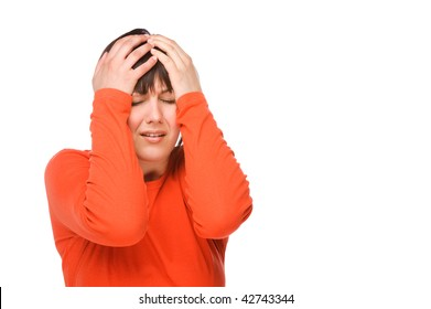 Young woman having some headache. Full isolated studio picture