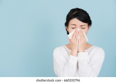 Young woman of hay fever