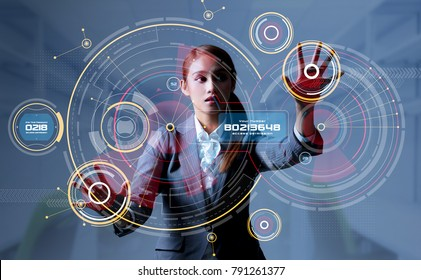 Young woman and head up display. HUD. GUI. Internet of Things(IoT).