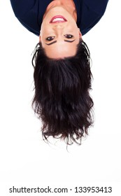 young woman head upside down
