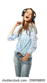 Young woman with headphones isolated on white