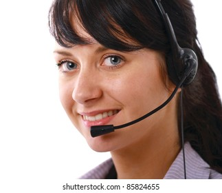Young woman with headset isolated