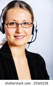 A young woman with a headset as operator