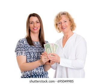 young woman and her mother with money  in front of white background