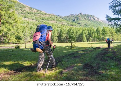 Young woman hiker on a sunny day trekking in high mountains